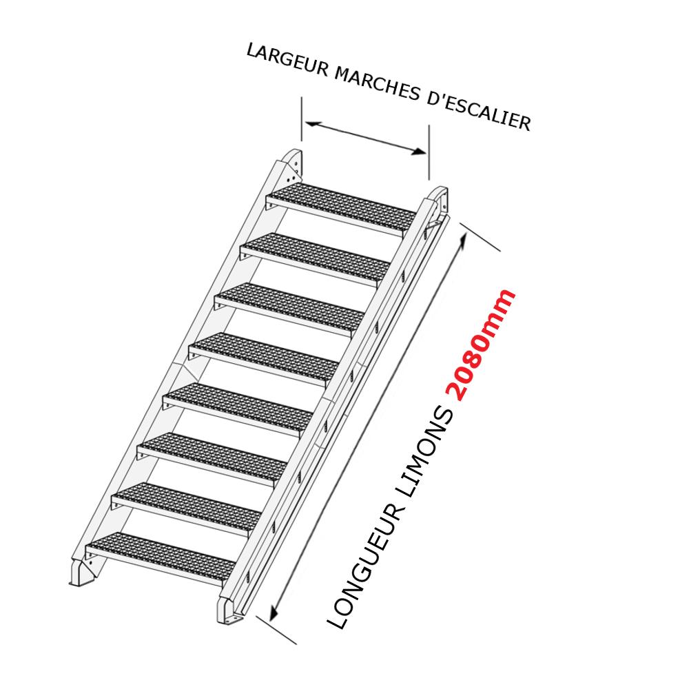 escalier galvanis en kit pour une hauteur de 1 1 8 m tres. Black Bedroom Furniture Sets. Home Design Ideas