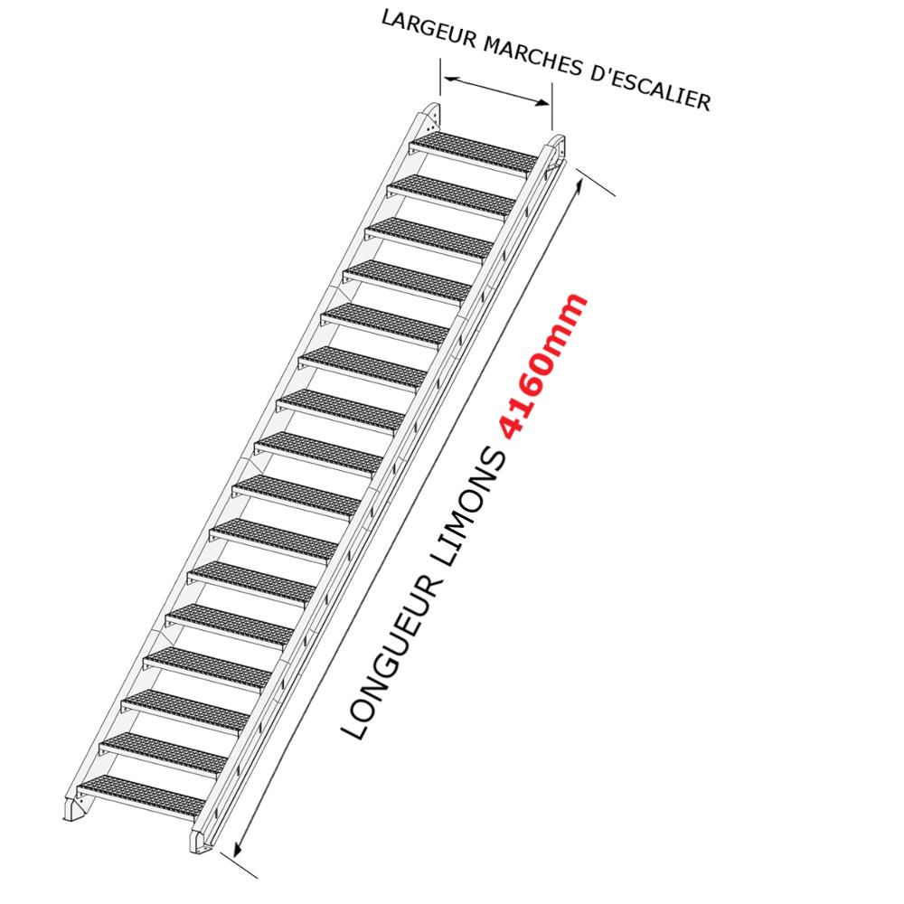 escalier galvanis en kit pour une hauteur de 2 3 6 m tres. Black Bedroom Furniture Sets. Home Design Ideas