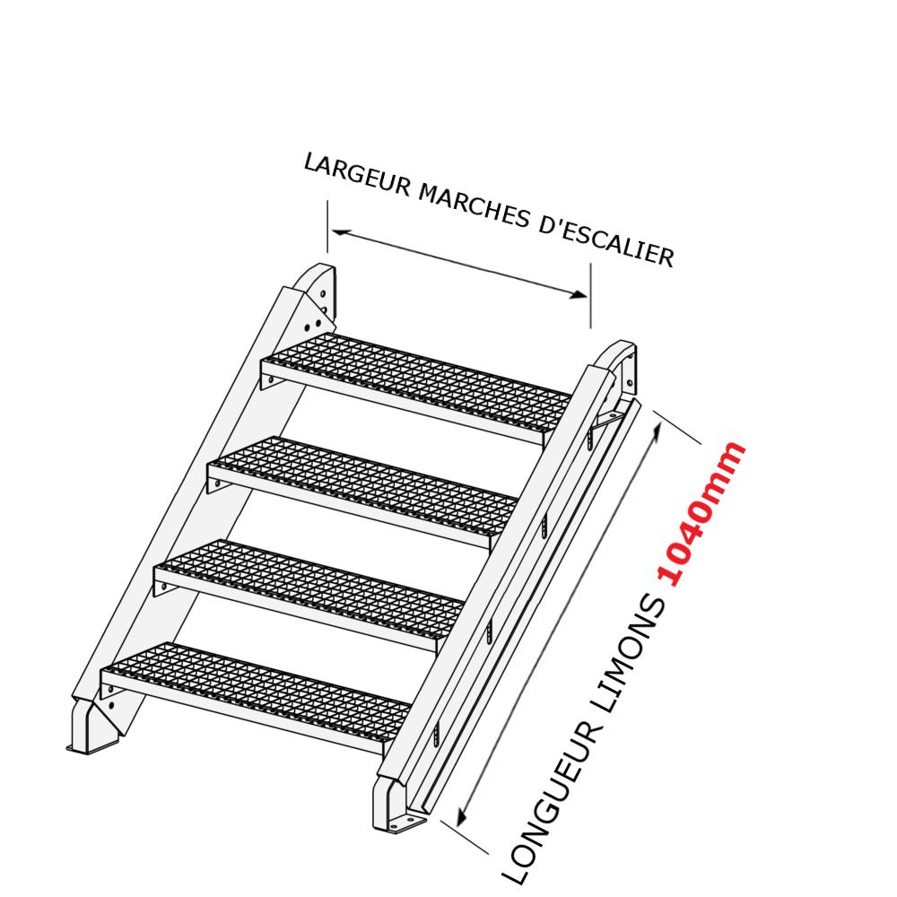 Largeur D Une Marche D Escalier escalier galvanisé en kit pour une hauteur de 0,5 à 0,9 mètres